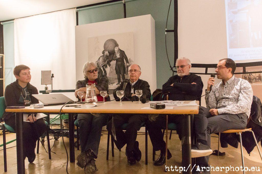 50 años de Hispacón: Elena Sanz, Carlo Frabetti, Luis Gasca, Agustín Jaureguízar y Mariano Villarreal.